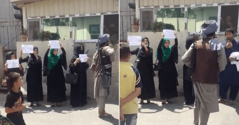 Brave Afghan women protest for their rights on Kabul streets while surrounded by Taliban fighters