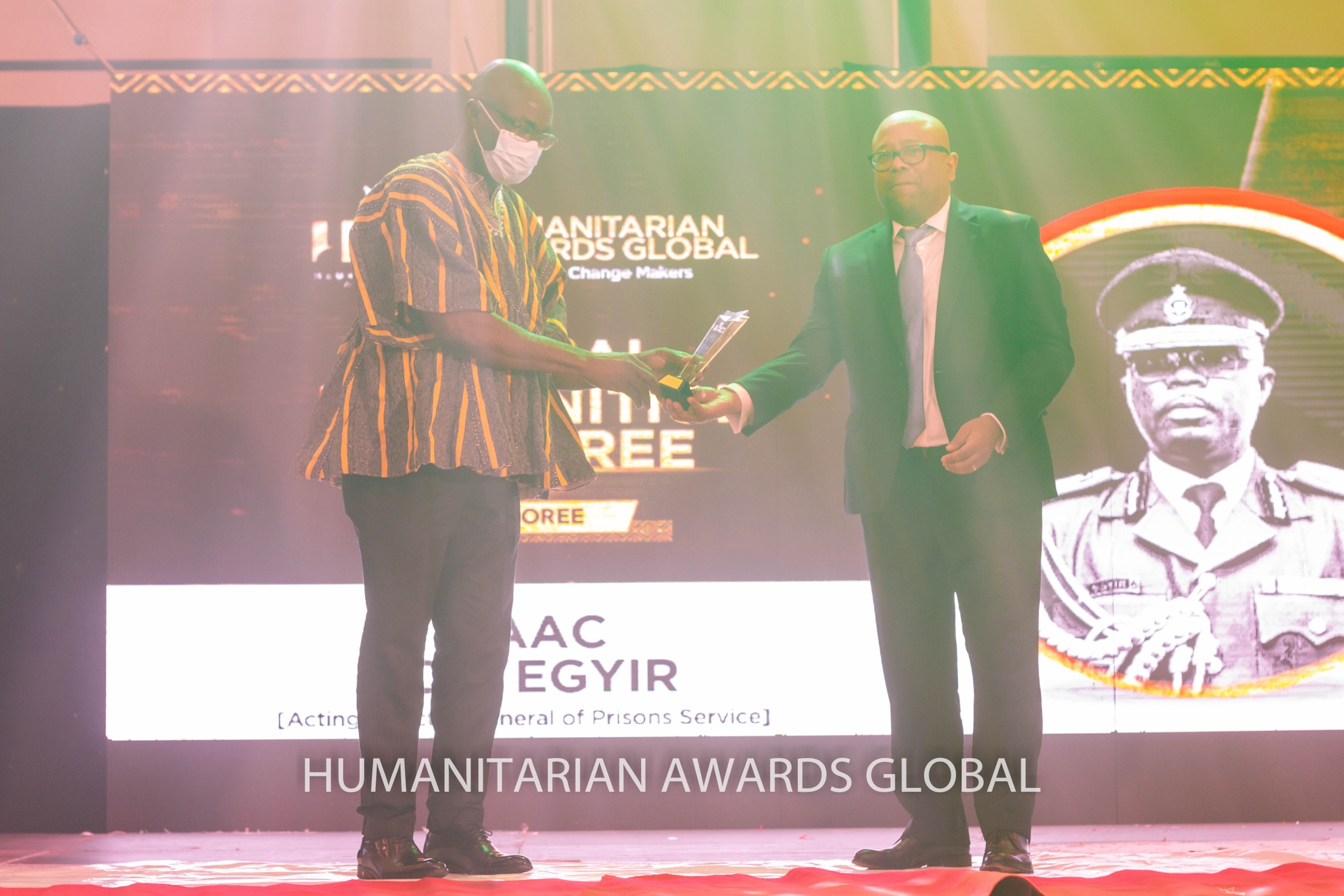 AG Director of Ghana Prison Service, Mr Isaac Kofi Agyir honoured at this year's Humanitarian Awards Global.